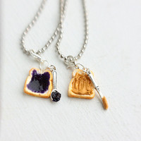 Peanut Butter Grape Jelly Best Friends Necklace by bookmarksnrings