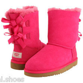 UGG AUSTRALIA BAILEY BOW CERISE PINK 3280T TODDLER LITTLE KIDS INFANTS BOOTS NEW