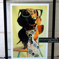 Dachshund Print Photography Mid Century Mad Dog by kalyxcraftopia