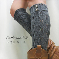 CAHRCOAL GREY Open crochet knit leg warmers   / womens  knit pattern  great with cowboy boots by Catherine Cole Studio legwarmers