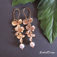 Drop Earrings  Orchid Flower Earrings  Pearl  by SnobishDesign