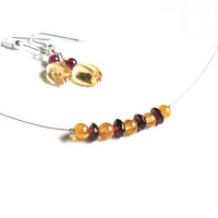 Everyday necklace earrings set Citrine and Garnet by Daniblu