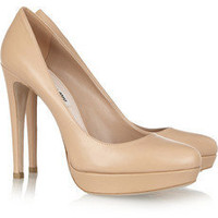 Miu Miu | Leather platform pumps | NET-A-PORTER.COM