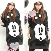 L88 Fashion Women Cartoon Mickey Mouse Hoodie Long Top Outerwear S M