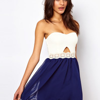 Paprika Bandeau Cut Out Chiffon Prom Dress