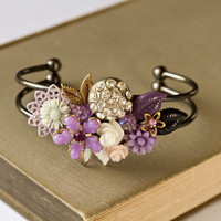 Purple Collage bracelet  Bridesmaid Gift Bridesmaid by lonkoosh