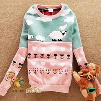 USD J80 Women Cartoon Graphic Spliced Long Sleeve Sweatshirt Tops ~Green+Pink~ S