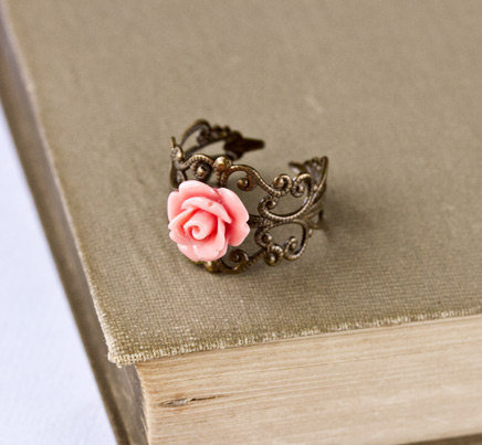 Coral Pink Ring  Adjustable Vintage Style Ring Shabby by lonkoosh