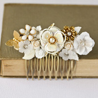 Bridal Hair Comb  Vintage White Floral Hair Comb by lonkoosh