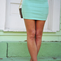 Pop Of Color Stretch Skirt: Mint | Hope&#x27;s