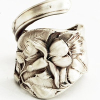 Spoon Ring Ornate Floral Fuchsia Art Nouveau in by Spoonier