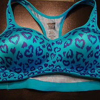 Victoria's Secret sports Bra Love Pink Yoga leopard heart padded M push up aqua