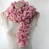 Pink Knit Scarf Powder Pink Blush Sweet Lilac Winter Spring Accessories | Luulla
