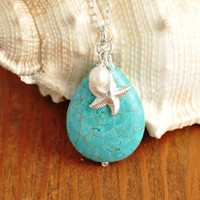 Beach Necklace - starfish necklace, turquoise necklace, star fish necklace, beach wedding, bridesmaid necklace