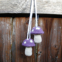 Plush Crochet Lavender Hanging Mushroom Toadstool Stuffies, MADE TO ORDER. Patchouli Aphrodesia, Lily of the Valley or Rose Scented.