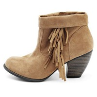 Sueded Fringe Western Bootie: Charlotte Russe