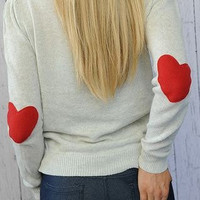 Heart Elbow Patch Sweater I Wear My Heart on My Sleeve Sweater with RED Felt Heart Patches SMALL Valentine&#x27;s Day
