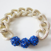 Cobalt Blue Pave Ball & Gold Textured Chain Bracelet