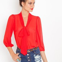 Tied Chiffon Blouse in Clothes Tops at Nasty Gal