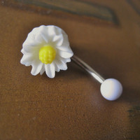 Daisy Belly Button Jewelry Ring- White Flower Rose Floral Navel Stud Piercing Bar Barbell