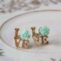 Love &amp; Roses Earrings in Mint, Sweet Affordable Jewelry