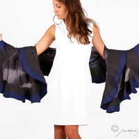 Felted wavy ruffled shawl scarf - Blue and dark grey - Handmade wool and silk - Special occasion