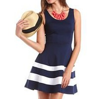 Striped Ponte Skater Dress: Charlotte Russe