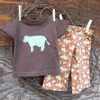Baby Boys Clothes T shirt and pants, 6 months, green and brown, applique, animals