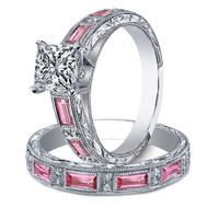 Engagement Ring - Princess Diamond bridal set engagement ring & matching wedding band engraved vintage band Pink sapphire accents 1.02 tcw - ES637PSPRBS