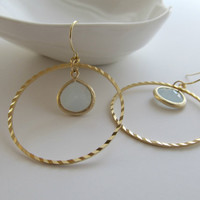 Gold hoop earrings, icy blue crystal earrings, soft pastel, bold and elegant jewelry