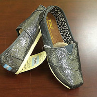 TOMS Ladies Shoes - Shimmering Gray Metallic