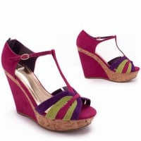 suede colorblock wedge &amp;#36;23.10 in FUCHSIA TAUPE - Wedges | GoJane.com