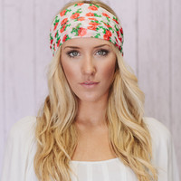 Wide Headband Roses Floral Turban Mesh Hair Covering