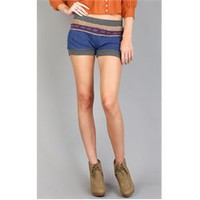 CP2009 Blue Multi Knit Wool High Waisted Shorts and Womens Fashion Clothing &amp; Shoes - Make Me Chic