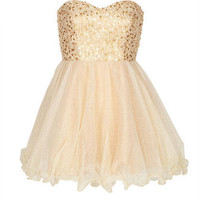 Lace Up Back Gold Sequin Dress