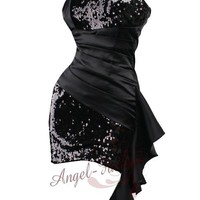 Sequins Pleated Waist Flounce Belt Strapless Clubwear Dresses S M L XL Black