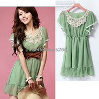 Women&#x27;s Elegant Laciness Short Sleeve Sweet Chiffon Mini Dress Korean Fashion