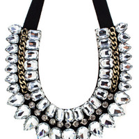 jewel-embellished-bib-necklace BLACKGOLD BLACKSILVER - GoJane.com
