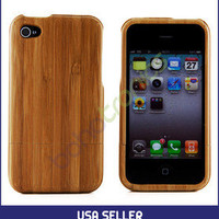 Apple iPhone 4 4S 4G Genuine Natural Bamboo Hard Protective Wood Case Cover Skin