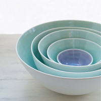 Extra Large Nesting Bowls in Aqua and Lavender by SuiteOneStudio