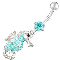 "Amazon.com: 14Gauge (1.6mm), 3/8"" Inch (10mm) seahorse Aquamarine Swarovski Crystal Ferido dangle belly dangling navel button ring dangly bar AFES - Pierced Body Piercing Jewelry: Jewelry"