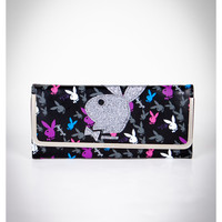 Playboy Multi Color Bunnies Flip Clutch