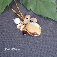 Birthstone Necklace  Gold Locket Necklace  by SnobishDesign