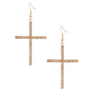 Rhinestone Cross Linear Earring | Shop Jewelry at Wet Seal