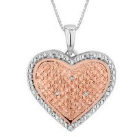 Amazon.com: Diamond Heart Pendant Necklace in Sterling Silver with Rose Pink Gold Plating with Chain: Jewelry