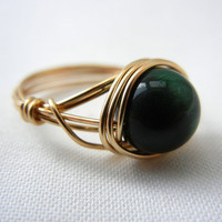 Green Tiger Eye Ring, Wire Wrap Ring Handmade, Wire Wrapped Ring, Tiger Eye Jewelry, Green Bead Ring