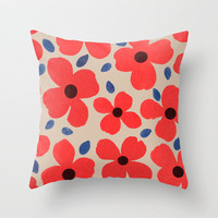 Dogwood_Red Throw Pillow by Garima Dhawan | Society6