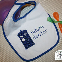 Doctor Who Tardis Applique Bib, Dr Who Bib, Tardis Bib, Blue