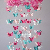 Nursery Mobile - Hot Pink & Aqua Butterfly Mobile, Photography Prop, Baby Shower Gift