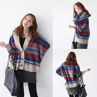 Bohemian Casual Tribal Oversized Knit Bat Sleeve